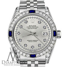 Rolex 36mm Datejust Silver Color String Dial Sapphire & Diamond Watch