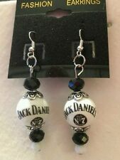 JACK DANIELS WHISKEY EARRINGS GLASS BEADED  BARTENDER DANGLE