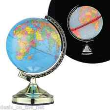 "13"" 32CM DESK TOP BEDROOM OFFICE WORLD GLOBE BRASS POLISHED TABLE TOUCH LAMP"