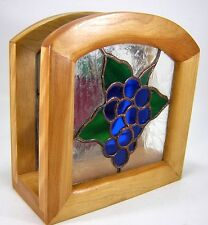Stained Glass Napkin Holder w Wood Frame Grapes and Apple Fruit Design
