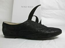 Nine West Size 7 M Vita Black Leather Oxfords Slip Ons New Womens Shoes