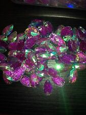 Sew On Stitch 10 Jewel 18mm  GEM CRYSTAL RHINESTONE AB Glitter Purple DANCE
