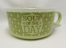 "Soup of the Day Green Microwave Souper Soup Coffee Mug Bowl 5-1/2"" Steam Lid"