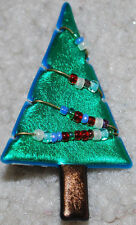 "Christmas Jewelry Tree Pin Holiday Brooch Green Beaded 2.5"" Vintage Handmade"