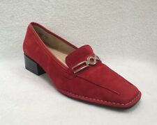 New ARA RED SUEDE  Loafers Silver Buckle Germany Shoe 6 US / 3.5 GR MSRP $130