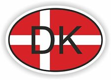 OVAL FLAG WITH DK DENMARK COUNTRY CODE STICKER CAR MOTOCYCLE AUTO TRUCK