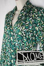 Vintage Diane Von Furstenburg 100% Silk Jersey Green Cream Leaf Wrap Dress 6