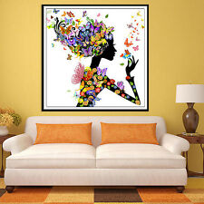 5D Butterfly Beauty Lady DIY Diamond Embroidery Painting Cross Stitch Home Decor