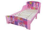 Kids Girls Bedroom Furniture Pink Fashion Doll Wooden Bed Frame Slat Base Sturdy