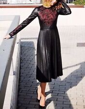 ZARA Woman Kunstleder Stickerei Kleid Faux Leather Embroidered Dress Neu Blogger