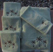 NEW PALM TREE TREES LIGHT GREEN 5 PIECE TOWEL COLLECTION