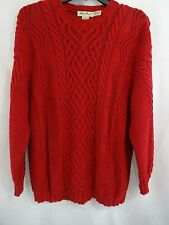 Eddie Bauer Womens Red Sweater Chunky Cable Knit XL Cotton Very Nice Condition