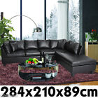 New PU Leather Corner Sofa Suite Lounge Couch Furniture Chaise Set Black
