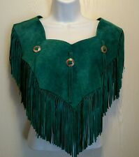 Western Cowgirl Teal Green Shoulder Neck Leather Fringed Caplet Shawl Wrap 15""