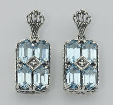 Art Deco Style Blue Topaz w/ Diamond Earrings - Sterling Silver - Free Shipping