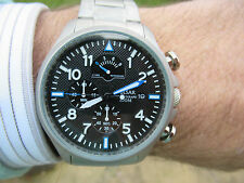 PULSAR BY SEIKO MILITARY COOL TEXTURE DIAL PILOT CHRONOGRAPH  BEZEL 47MM VGC