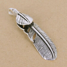 Sterling Silver Feather Pendant 925 Vintage Celtic Eagle Stamp WSP345