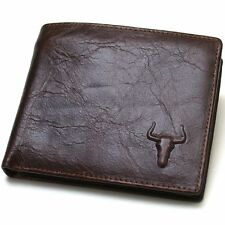 Vintage Leather Wallets For Mens Credit Cards Wallet Zipper Coin Pocket Purse