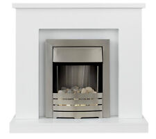 ELECTRIC WHITE SURROUND TRADITIONAL SILVER PEBBLE 2KW FIRE FIREPLACE SET SUITE