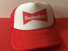 Budweiser White Red Mesh Trucker Baseball Hat Cap Adjustable Vintage