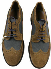BRUNELLO CUCINELLI BROWN SUEDE LEATHER & BLUE FABRIC WING TIP SHOES-42.5/9.5U.S.
