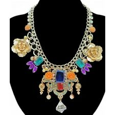Rose Flower Crystal Charm Chunky Statement Necklace -  Silver & Multi Colour