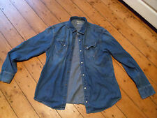 WRANGLER 1947 SLIM FIT DENIM SHIRT XL MOTHER OF PEARL POPPERS