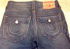 AUTHENTIC TRUE RELIGION MENS BILLY YELLOW BAR TRACKS Jeans 30(32)x28 MB8858EAN