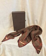 "LOUIS VUITTON Brown Red Damier 100% Silk Scarf Bandanna, 22"" Square, RARE!!"