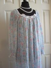 MISS ELAINE VTG Long Gown Nightgown PJs Floral Cotton Lace Large USA