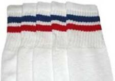"14"" KIDS WHITE tube socks with ROYAL BLUE/RED stripes style 2 (14-25)"