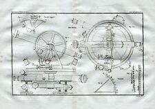 Teodolite: rilievi geodetici e topografici.Theodolite.Theodolit. Acquaforte.1835