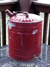 ANTIQUE GAS CAN LARGE 5 GALLON GALVANIZED GAS CAN WOODEN HANDLE CAPS VINTAGE CAN