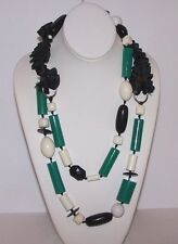 """Subversive Necklace long Plastic modern pre owned Black Off White & Green 52"""""""