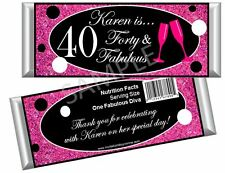 Birthday 30th/40th/50th/60th Glittered Diva - For Her Candy Bar Wrappers-Set/12