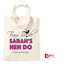 PERSONALISED HEN PARTY GIFT COTTON TOTE BAG FAVOUR- ANY NAME & LOCATION