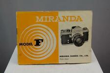 Miranda F camera instruction book, complete, good condition.