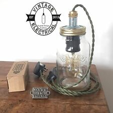NEW KILNER MASON JAR DESK LIGHT TABLE LAMP INDUSTRIAL KHARKI GREEN TWIST CABLE