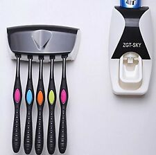 Wall Mount Auto Toothpaste Dispenser Squeezer & Toothbrush Stand Holder Set