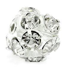 "5 PCs Ornate Filigree Balls Beads Rhinestone Silver Plated 9mmx8mm(3/8""x3/8"")"