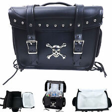 Motorcycle Skull Cooler Saddle Bag Travel Trunk Bobber Street Bike Honda