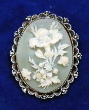 Vintage GERRY'S Silvertone Oval FLOWER Cameo Pin Brooch