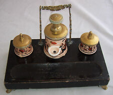 Antique Old French Pump Inkwell Pen Stand Rack Encrier a Pompe Paris Egyptian