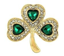 ST. PATRICKS DAY IRISH SHAMROCK CLOVER GREEN RHINESTONE GOLD TONE BROOCH PIN