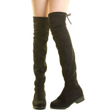 Womens Vegan Suede Rear Drawstring Tie Lace Up Over The Knee Pull On Riding Boot