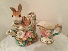 "Vintage Fitz & Floyd Classics ""Woodland Spring"" Teapot & Lid And Creamer Set."