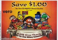 2013 magazine ad M&M's MARS GIVES THANKS (small) mms M&M yellow red blue green