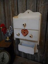 Antique Old White Wall Cupboard Cabinet Shabby Country Farmhouse Primitive AAFA