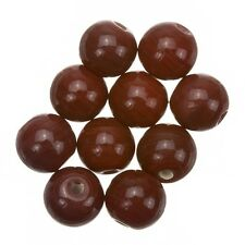 Shiny Dark Red Round Glass Beads 10mm Pack of 10 (A32/3)