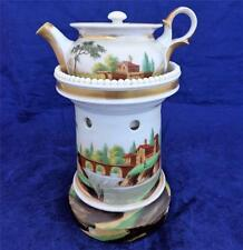 Antique HP Paris Porcelain Veilleuse Théière Teapot on Stand Night Light  c 1860